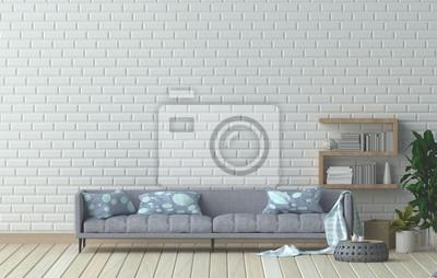 Möbel Set Und Sessel Im Wohnzimmer Innenarchitektur 3d Darstellung