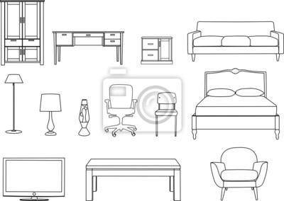 Bett strichzeichnung  Möbel, strichzeichnung fototapete • fototapeten Esszimmer, Schrank ...