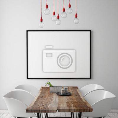 Fototapete Mock Up Poster Frame In Dining Room Interior Background
