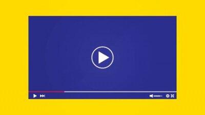 Fototapete Mockup Video Player Template Design. Social media live stream window, player concept