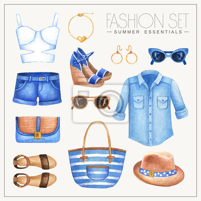 Mode Aquarell Frau Outfit mit Hemd, Shorts und Top