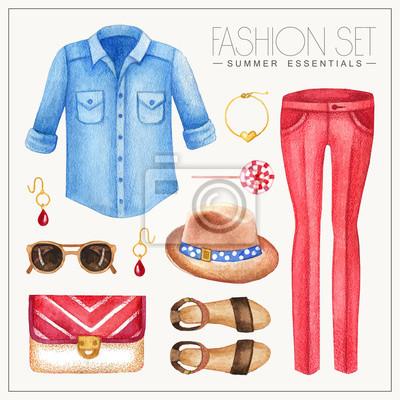 Mode Aquarell Frau Outfit mit Jeans-Shirt und Hose