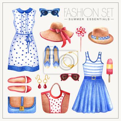 Mode Aquarell Frau Outfit mit Kleidern und Hüten
