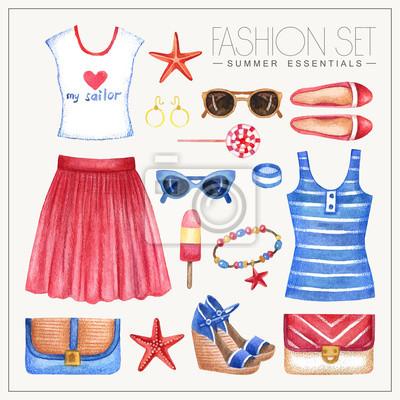 Mode Aquarell Frau Outfit mit Rock, Tops und Schuhe