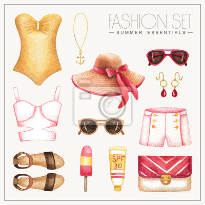 Mode Aquarell Frau Outfit mit Shorts und Badeanzug