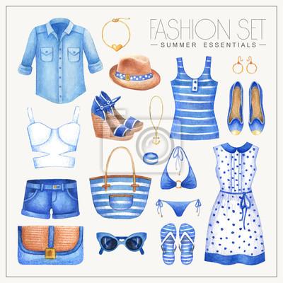 Mode Aquarell nautischen Stil Frau Outfit