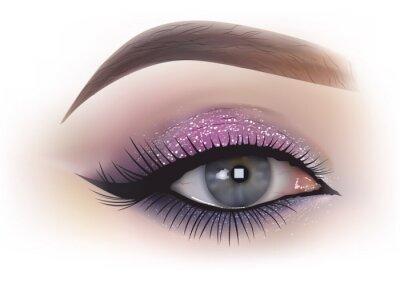 Fototapete Mode Frau Augen Make-up - detaillierte realistische Darstellung, Vektor