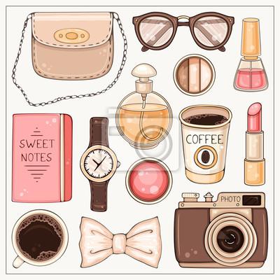 Mode-Set von Frau Hipster Zubehör und Kosmetik