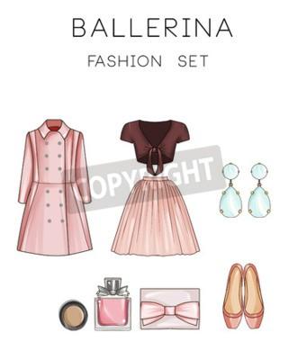 Mode Set Von Frau Kleidung Und Accessoires Mantel Ballerina
