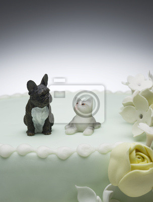 Modell Hund Und Katze Auf Der Hochzeitstorte Fototapete