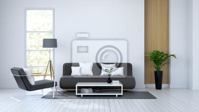 Moder Innenraum Weisser Raum Und Schwarze Mobel 3d Render