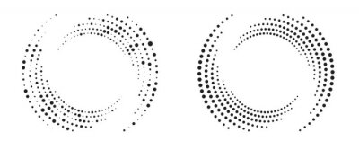 Fototapete Modern abstract background. Halftone dots in circle form. Round logo. Vector dotted frame. Design element or icon.