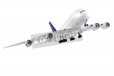 Fototapete Modern airplane isolated on white background.