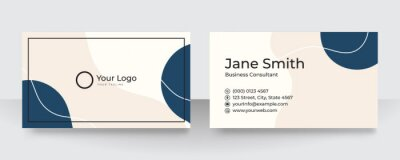 Fototapete Modern blue and white business card design. Modern business card template red black colors. Flat design vector abstract creative - Vector