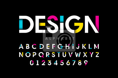 Fototapete Modern bright colorful font, alphabet letters and numbers
