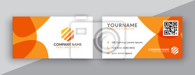 Fototapete modern business card design . double sided business card design template . flat orange business card inspiration