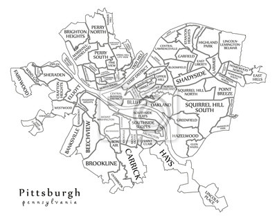 Modern city map - pittsburgh pennsylvania city of the usa with ...