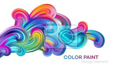 Fototapete Modern colorful flow poster. Wave Liquid shape color paint. Art design for your design project. Vector illustration