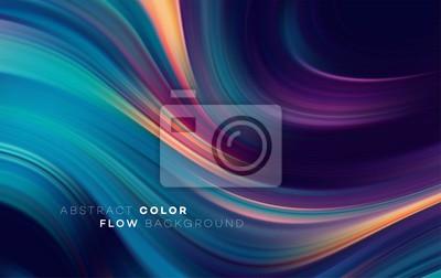 Fototapete Modern colorful flow poster. Wave Liquid shape in black color background. Art design for your design project. Vector illustration
