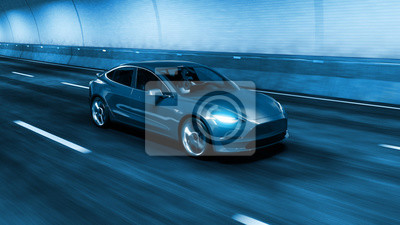Fototapete Modern Electric car rides through tunnel with cold blue light style 3d rendering
