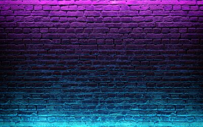 Fototapete Modern futuristic neon lights on old grunge brick wall room background. 3d rendering