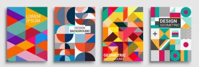 Fototapete Modern geometric abstract background covers sets. colorful pattern geometric shapes composition, vector illustration.
