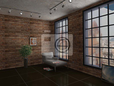 Modern interior of room in loft style with white sofa red brick