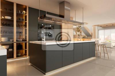 Fototapete Modern kitchen interior in black colors