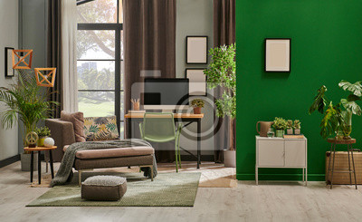 Fototapete Modern living room with grey sofa and frame, green wall close up decoration in front of the window.