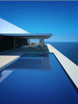 Fototapete Modern Luxury Loft / Apartment mit Meerblick + Infinity Pool