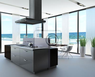Fototapete: Modern luxury loft mit luxus-küche am meer