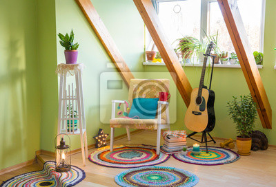 Fototapete Modern maximalism or maximalist home decor interior design concept, different colorful things in home, vintage chair, flower stand, bright green wall.