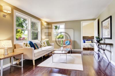 Modern Mobliertes Wohnzimmer Interieur Mit Parkettboden Fototapete