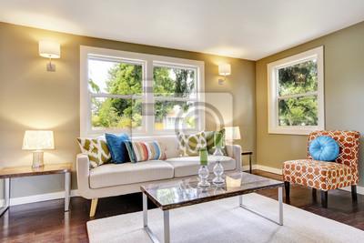Modern möbliertes wohnzimmer interieur mit parkettboden fototapete ...