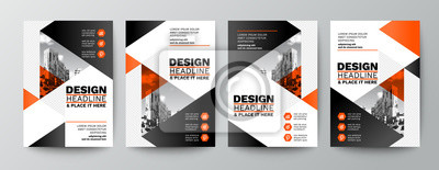 Fototapete modern orange and black design template for poster flyer brochure cover. Graphic design layout with triangle graphic elements and space for photo background
