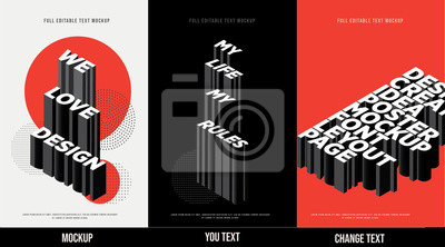 Fototapete Modern poster design template 3D Text Effect Mockup /full editable