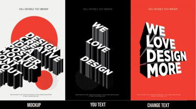 Fototapete Modern poster design template 3D Text Effect Mockup /full editable text