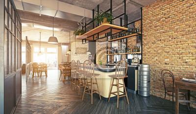 Fototapete modern restaurant interior design.