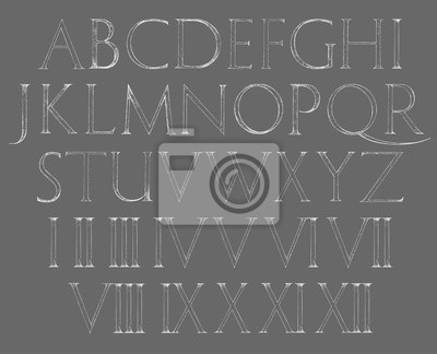 Modern Roman Klassisches Alphabet mit Zahlen