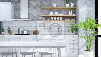 Fototapete Modern Und Loft Küche, Speisekammer, Esszimmer, Weiße Moderne  Möbel Auf Holzboden Und