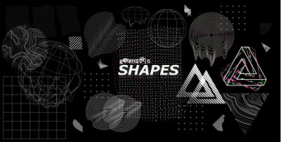 Fototapete Modern universal trendy shapes, with glitch effects. Cyberpunk retro futurism set, vaporwave. Abstract digital elements for web banner, posters, covers design, futuristic Memphis. Vector illustration