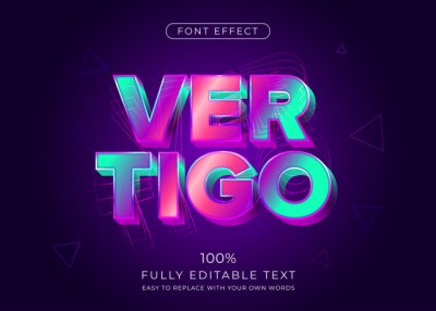 Fototapete Modern vibrant 3d text effect. Editable font style