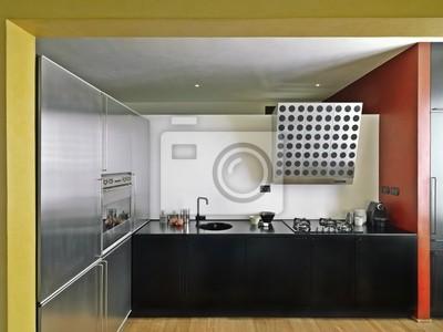 Moderna con cucina di legno pavimento fototapete • fototapeten ...