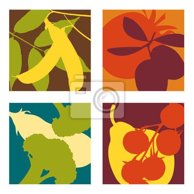Moderne abstrakte Vektor-Obst-und Gemüse-Designs