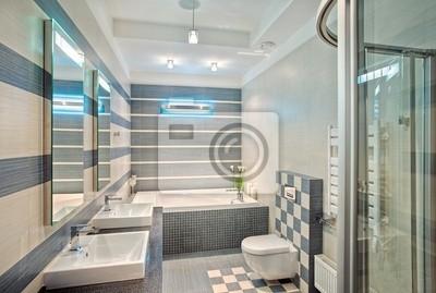 Fototapete Moderne Badezimmer In Blau Und Grautönen Mit Mosaik