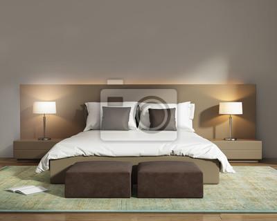 Fototapete Moderne Beige Hotel Luxus Schlafzimmer Mit Wildleder Stühlen