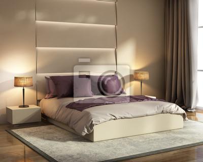 Fototapete Moderne Beige Und Violetten Hotel Luxus Schlafzimmer