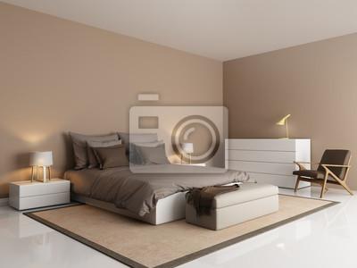 Moderne braune hotel luxus-schlafzimmer mit beige bank ...