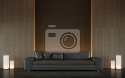 Fototapete Moderne Braune Wohnzimmer Interieur Minimal Stil 3d Rendering  Bild, Gibt Es Minimalistischen Stil Verzieren