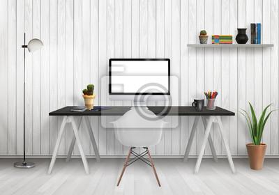 Moderne büro interieur mit computer auf schreibtisch, pflanzen ...